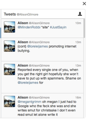 Alison Gilmore plagiarized Lorelei James then denied it